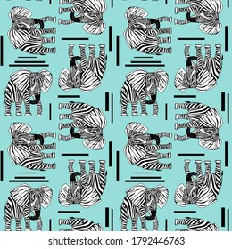 Elephant with zebra skin in the studio. The concept of being different. contemporary seamless pattern vector illustration