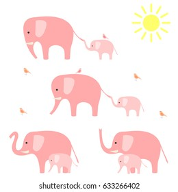 Elephants with baby elephants. Vector illustration.
