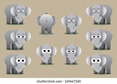 Elephants cartoon vector