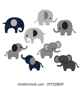 Elephants. Cute vector.