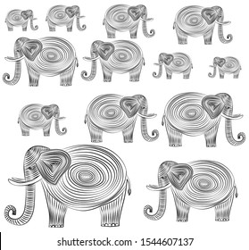 Elephants drawn in black lines and spirals. Elephants with large tusks on a white background. Funny elephants in an unusual drawing technique.