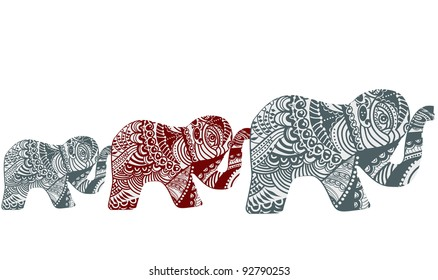Elephants in the ethnic style on a white background