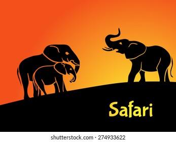 Elephants safari concept. Silhouettes with sunrise on background.