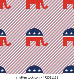 Elephants seamless pattern on red and blue stripes background. USA presidential elections patriotic wallpaper. Tillable pattern vector illustration.