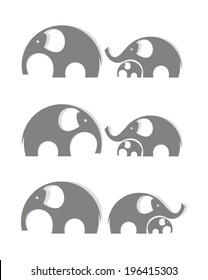 Elephants. Vector illustration.