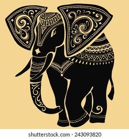 elephant.Silhouette of elephant.