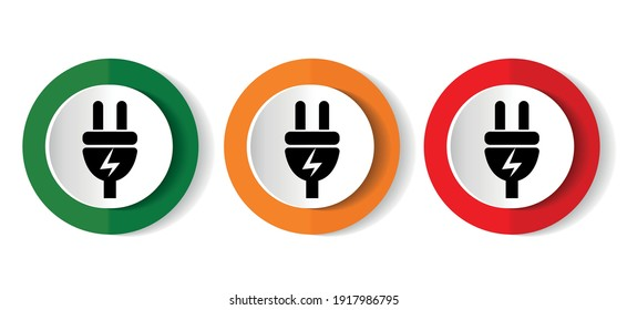 Eletricity icon set, energy, power, plug flat design vector illustration in 3 colors options for webdesign and mobile applications