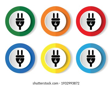 Eletricity icon set, energy, power, plug flat design vector illustration in 6 colors options for webdesign and mobile applications