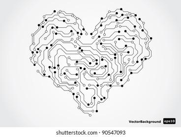 Eletronic circut board in shape of heart. Vector illustration