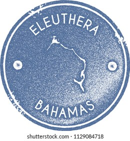 Eleuthera map vintage light blue stamp. Retro style handmade island label, badge or element for travel souvenirs. Vector illustration.