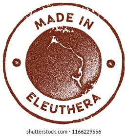 Eleuthera map vintage stamp. Retro style handmade label, badge or element for travel souvenirs. Red rubber stamp with island map silhouette. Vector illustration.