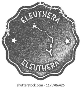 Eleuthera map vintage stamp. Retro style handmade label, badge or element for travel souvenirs. Grey rubber stamp with island map silhouette. Vector illustration.