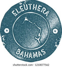 Eleuthera map vintage stamp. Retro style handmade label, badge or element for travel souvenirs. Blue rubber stamp with island map silhouette. Vector illustration.