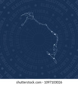 Eleuthera network style island map. Nice space style, modern design for infographics or presentation.