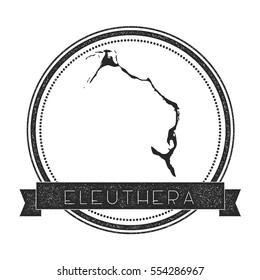 Eleuthera vector map stamp. Retro distressed insignia with Eleuthera map. Hipster round rubber stamp with Eleuthera island text banner, island map vector illustration.