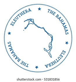 Eleuthera vector map sticker. Hipster and retro style badge with Eleuthera map. Minimalistic insignia with round dots border. Island map vector illustration.