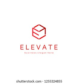 Elevate E Letter Cube Up Arrow Logo Template. Logo for all types of business.