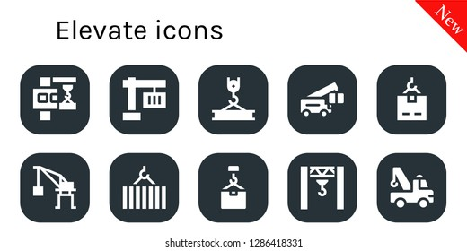 elevate icon set. 10 filled elevate icons. Simple modern icons about  - Crane