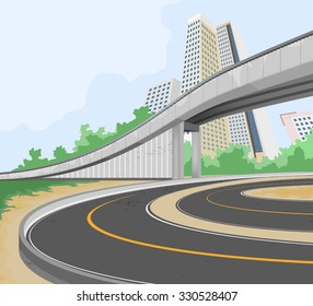 Elevated road scene,transportation and cityscape vector background