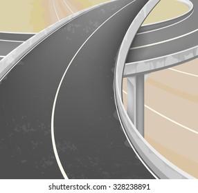 Elevated road scene,transportation vector background