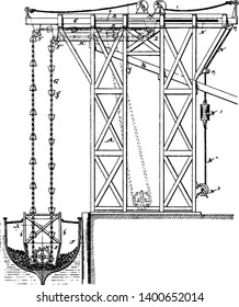 Elevating Apparatus who reported that Archimedes built his first elevator, vintage line drawing or engraving illustration.