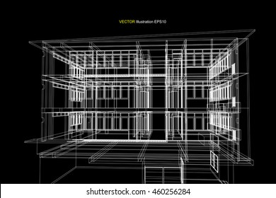 elevation building, architecture abstract, 3d illustration vector