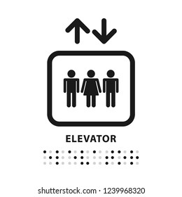 Elevator with braille sign. Line vector. Isolate on white background.