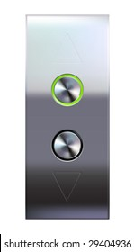 Elevator buttons panel with brushed metal texture background. Vector illustration