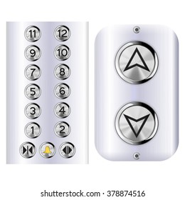 Elevator buttons. Vector illustration isolated on white background.
