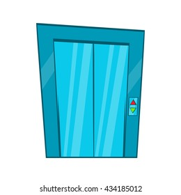 Elevator with closed door icon. Cartoon illustration of elevator vector icon logo isolated on white background