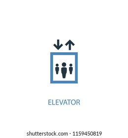 elevator concept 2 colored icon. Simple blue element illustration. elevator concept symbol design from Hotel set. Can be used for web and mobile UI/UX