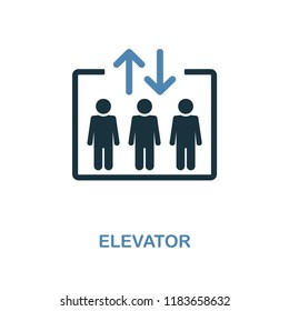 Elevator icon. Monochrome style design from shopping center sign collection. UI. Pixel perfect simple pictogram elevator icon. Web design, apps, software, print usage.