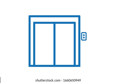 Elevator icon vector on white background blue version