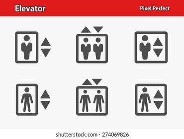 Elevator Icons. Professional, pixel perfect icons optimized for both large and small resolutions. EPS 8 format.
