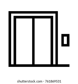 Elevator or lift flat line icon. Real estate property feature linear vector illustration. Isolated on white background.