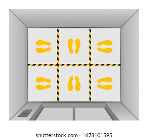 elevator lift floor with tape line yellow black stripe, footprints mark for standpoint at floor elevator inside, prevention of spreading covid-19 virus concept, elevator top view, footprints position