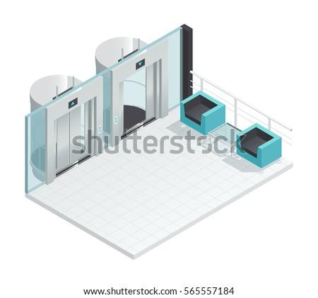 Elevator Lift Isometric Interior Contemporary Style Stock