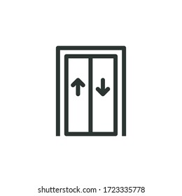 elevator line icon, vector illustration