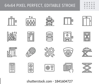 Elevator line icons. Vector illustration included icon - service lift, parking, disabled cabin, security camera, access buttons outline pictogram. 64x64 Pixel Perfect Editable Stroke.