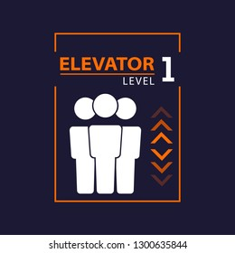 Elevator pictogram with people
