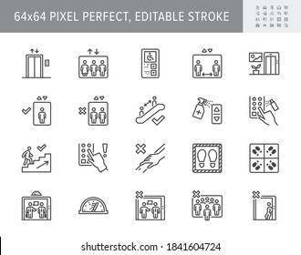 Elevator pitch line icons. Vector illustration, keep social distance icon, disinfect lift button, avoid touching handrail outline pictogram coronavirus prevention. 64x64 Pixel Perfect Editable Stroke.