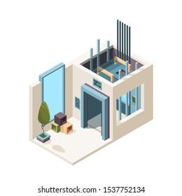 Elevator room. Building machine hall elevator cabin mechanism in house apartment vector isometric interior