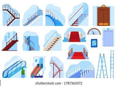 Elevator stairs escalator gangway staircase vector illustration flat set. Cartoon modern vintage house interior collection of metal moving elevator stair, red carpet covered stairway isolated on white