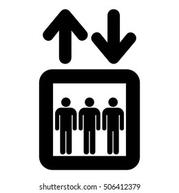 Elevator upward and downward sign. Lift symbol with arrows, isolated vector illustration.