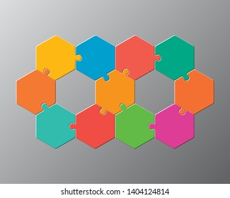 Eleven pieces puzzle hexagonal diagram. Hexagon business presentation infographic. 11 steps, parts, pieces of process diagram. Section compare banner. Jigsaw puzzle info graphic. Marketing strategy.