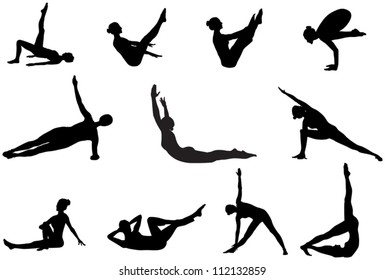Eleven pilates silhouettes of working out and stretching on the white background