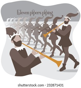 Eleven pipers piping Twelve days of Christmas EPS 10 vector illustration