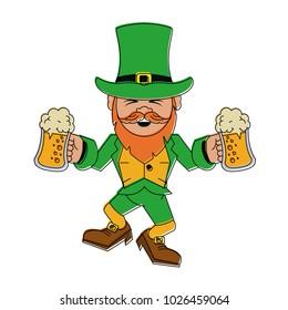 Elf with beers cups cartoon