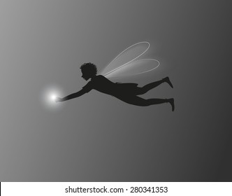 elf boy flying silhouette with lantern, night fairy, vector.