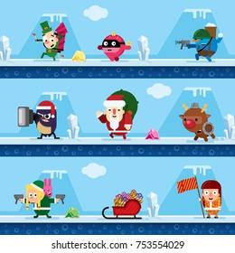 elf, christmas ball, snowman, penguin, Santa Claus, deer, Snow Maiden, sleigh with gifts